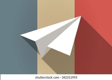 Illustration of a long shadow flag of France vector icon with a paper plane
