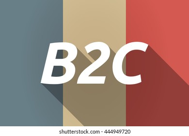 Illustration of a Long shadow France flag with    the text B2C