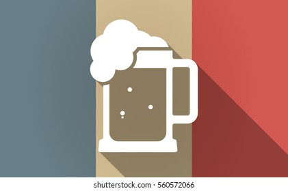 Illustration of a long shadow France flag with  a beer jar icon