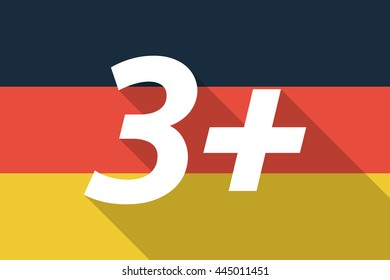 Illustration of a Long shadow Germany flag with    the text 3+