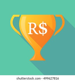 Illustration of a long shadow gold award cup with a brazillian real currency sign