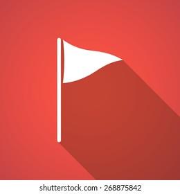 Illustration of a long shadow golf flag icon