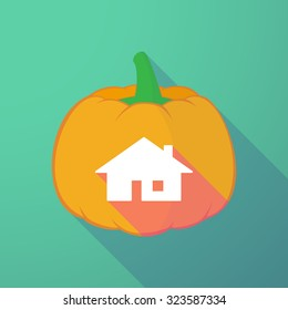 Illustration of a long shadow halloween pumpkin with a house