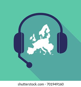 Illustration of a long shadow hands free headset with  a map of Europe