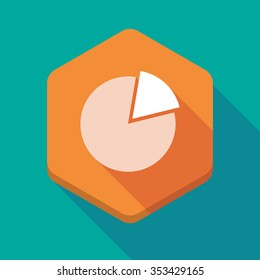 Illustration of a long shadow hexagon icon with a pie chart