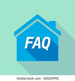 Illustration of a long shadow  house with    the text FAQ