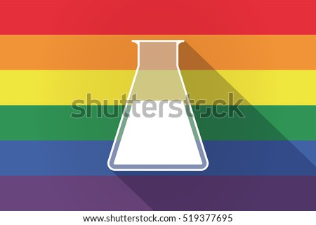 Illustration of a long shadow lgbt gay pride flag with a flask