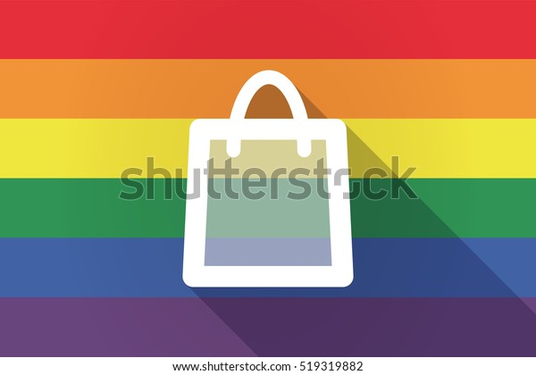 Illustration of a long shadow lgbt gay pride flag with a shopping bag