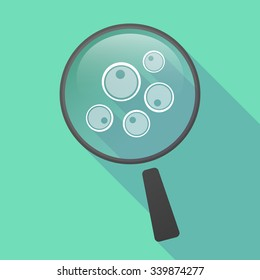 Illustration of a long shadow magnifier vector icon with oocytes