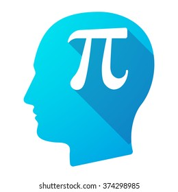 Illustration of a long shadow male head icon with the number pi symbol