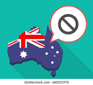 Illustration of a long shadow map of Australia with a comic balloon and  a forbidden sign