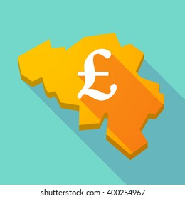 Illustration of a long shadow map of Belgium with a pound sign