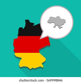 Illustration of a long shadow map of Germany, its flag and a comic balloon with  the map of Ukraine