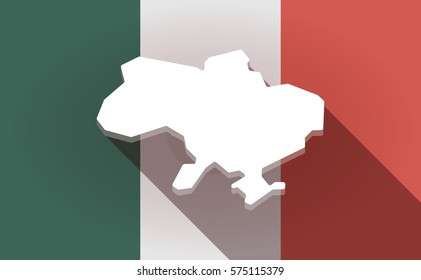 Illustration of a long shadow  Mexico flag with  the map of Ukraine