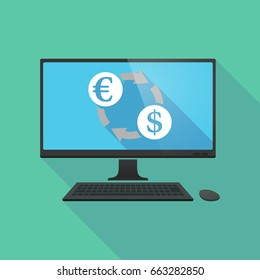 Illustration of a long shadow personal computer with  an euro dollar exchange sign