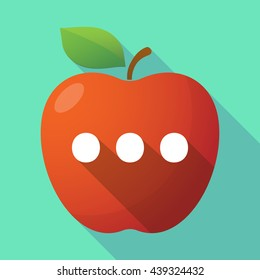Illustration of a long shadow red apple icon with  an ellipsis orthographic sign