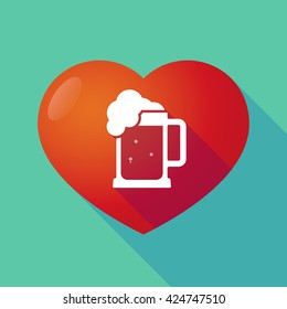 Illustration of a long shadow red heart with  a beer jar icon