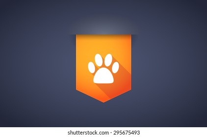 Illustration of a long shadow ribbon icon with an animal footprint