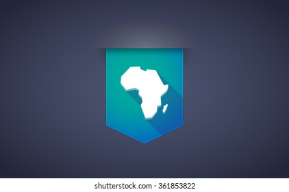 Illustration of a long shadow ribbon icon with  a map of the african continent
