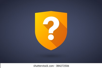 Illustration of a long shadow shield icon with  a question sign