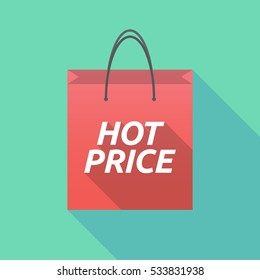 Illustration of a long shadow shopping bag with    the text HOT PRICE