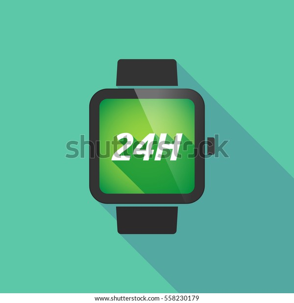 Illustration of a long shadow smart watch with    the text 24H