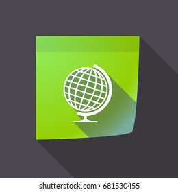 Illustration of a long shadow sticky note with  a table world globe