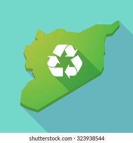 Illustration of a long shadow Syria map with a recycle sign