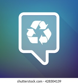 Illustration of a long shadow tooltip icon on a gradient background  with a recycle sign