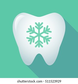 Illustration of a long shadow tooth icon with a snow flake