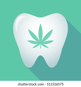 Illustration of a long shadow tooth icon with a marijuana leaf