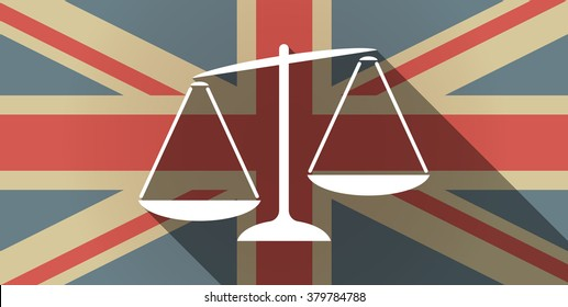 Illustration of a long shadow UK flag icon with  an unbalanced weight scale