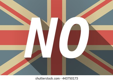 Illustration of a long shadow UK flag with    the text NO