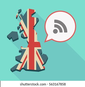 Illustration of a long shadow UK  map and its flag with a comic balloon and an RSS sign