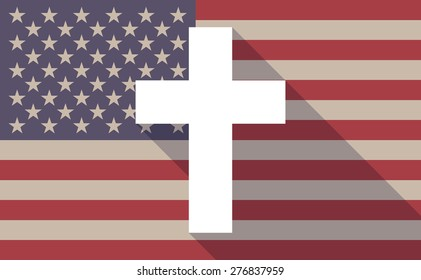 Illustration of a long shadow USA flag icon with a cross