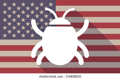 Illustration of a long shadow USA flag icon with a bug