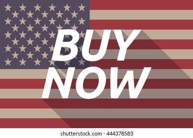 Illustration of a long shadow USA flag with    the text BUY NOW