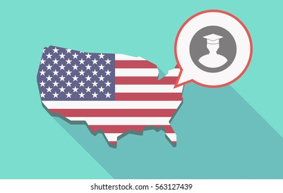 Illustration of a long shadow USA  map and its flag with a comic balloon and a student
