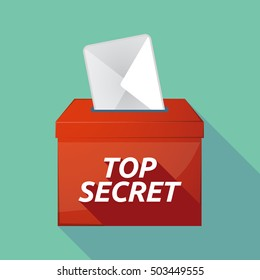 Illustration of a long shadow vector ballot box icon with    the text TOP SECRET