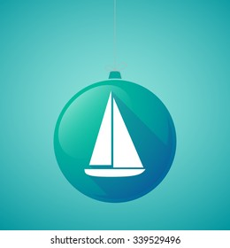 Illustration of a long shadow vector christmas ball icon with a ship