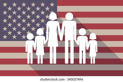 Illustration of a long shadow vector USA flag icon with a large family  pictogram