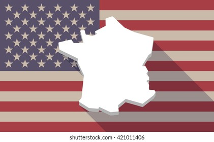 Illustration of a long shadow vector USA flag icon with   the map of France