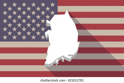 Illustration of a long shadow vector USA flag icon with   the map of South Korea
