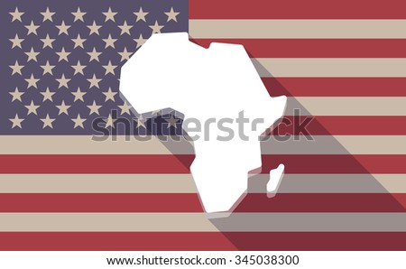 Illustration of a long shadow vector USA flag icon with  a map of the african continent