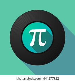 Illustration of a long shadow vinyl long play disc with the number pi symbol