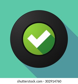 Illustration of a long shadow vinyl record with a check mark