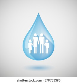 Illustration of a long shadow water drop icon with a conventional family pictogram