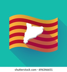 Illustration of a long shadow waving Catalonia flag with  the map of Catalonia