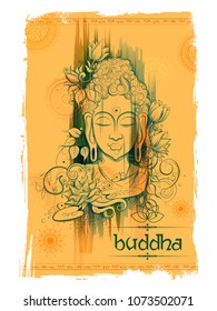 illustration of Lord Buddha in meditation for Buddhist festival of Happy Buddha Purnima Vesak