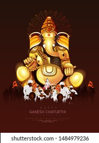illustration of Lord Ganapati for Happy Ganesh Chaturthi festival indian religious banner